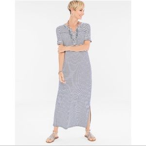 Chico's Stripes Tee Cuff Detail Maxi Dress, sz M